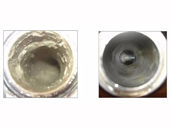 白铁管道清洗前后对比